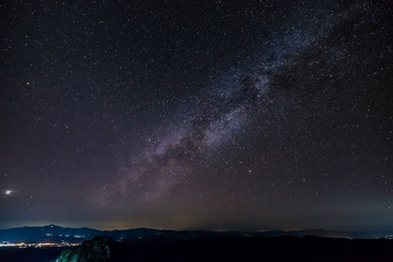 milky way over the city