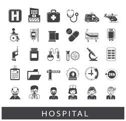 Collection of medical icons. Set of premium quality icons related to medicine, hospital, emergency. Vector illustration.