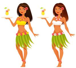beautiful Hawaiian waitress serving a cocktail drink
