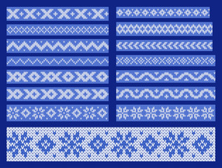Set of vector knitted ornamental lines