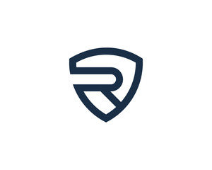 Letter R Shield Logo Design Element