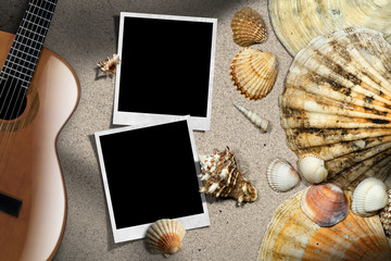 Guitar - Instant Photos - Seashells on Beach