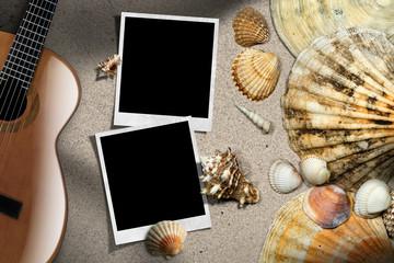 Guitar - Instant Photos - Seashells on Beach