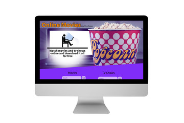 Isolated responsive device displaying illegally online movie website - Stop Piracy Conceptual Idea