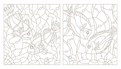 Set contour illustrations of stained glass with aquarium fish,fish surgery and fish clowns