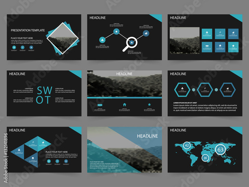 blue black abstract presentation templates, infographic elements, Powerpoint templates