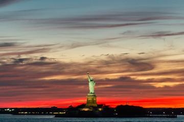 Statue of Liberty, New York City , USA. Vivid lowlight splittoned picture.