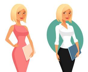 cute cartoon office girl or secretary holding folders