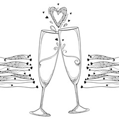 Vector illustration with two contour toasting champagne glass and ornate heart in black isolated on white background. Outline glasses and hearts in line art for Valentines design and coloring book.
