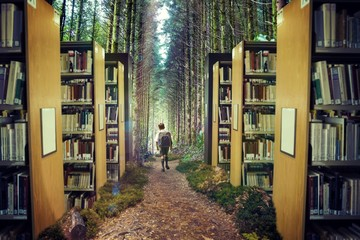 Composite image of cute pupil walking to the forest 3d