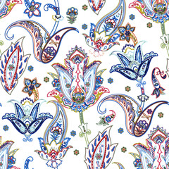 Colorful paisley pattern. Seamless doodle print