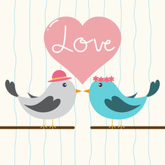 Aluminium Prints Birds, bees Couple of cute birds with love heart. Card for Valentine day and wedding.