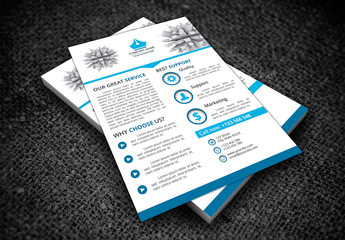 Single Page Flyer Layout with Skyscraper Illustration