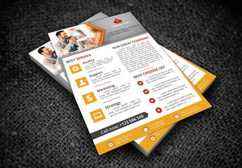Single Page Flyer Layout with Orange Accent