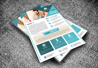 Single Page Flyer Layout with Teal Accent