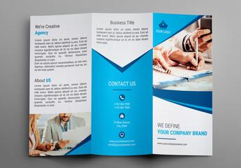 Tri-Fold Brochure Layout with Blue Geometric Element