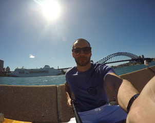 Young Man taking a selfie in Sydney, Australia