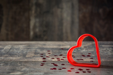 Red heart on wooden background. Valentines concept. Copyspace.
