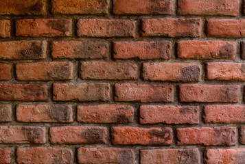 texture of decorative red brick wall pattern