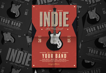 Live Music Flyer Layout with Electric Guitar Illustration 1