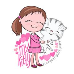 Girl tenderly cuddles tabby kitten