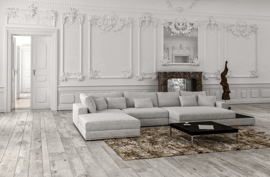 Neutral monochrome white classical living room