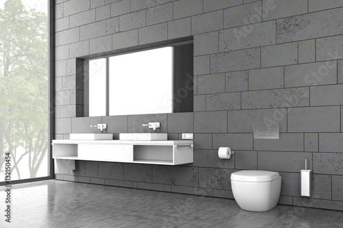 Badezimmer, Bad, WC, Waschbecken, Interieur, Innenraum, Wohnen ...