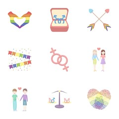 Gay set icons in cartoon style. Big collection of gay vector symbol stock illustration