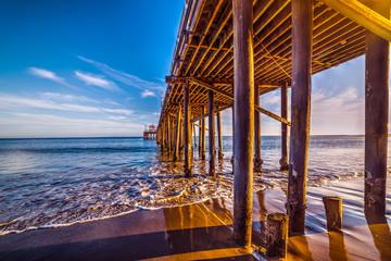 wooden poles in Malibu pier