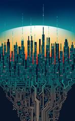 City online. Abstract futuristic digital city, hi-tech information concept
