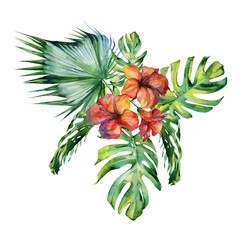 Watercolor illustration set of tropical leaves and hibiscus, dense jungle. Banner with tropic summertime motif may be used as background texture, card or cloth illustration, textile design.