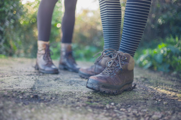 The shoes and feet of two young women