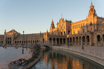Plaza de Espana in the evening, Andalusia, Seville, Spain