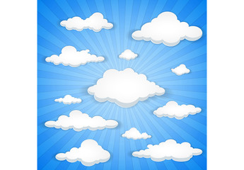 Cartoon-Style Cloudy Sky Illustration