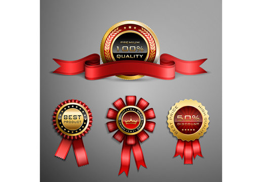Red and Gold Award Ribbon Illustrations