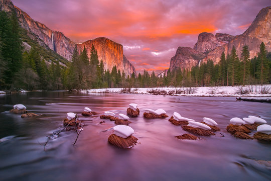 Yosemite National Park at dusk with snow caps