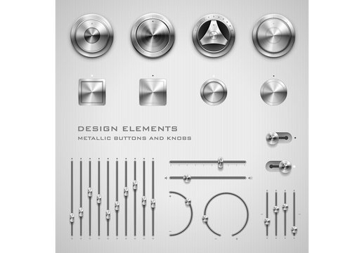 Metallic Button and Knob Elements 1
