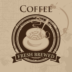 vector banner with a cup of coffee in retro style