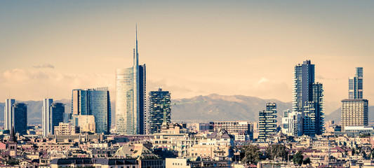 Foto op Aluminium Milan Milano (Italy), skyline with new skyscrapers