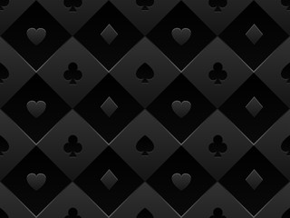 Black seamless pattern fabric poker table. Minimalistic casino vector 3d background with texture composed from volume card symbol