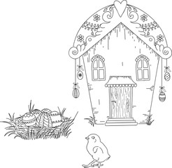Digital stamp. Easter house with Easter eggs and chick. Uncolore