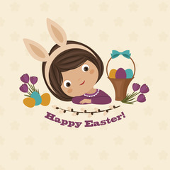 Easter day greeting card with little girl
