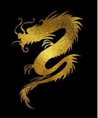 Golden foil paper cut out of a Dragon china