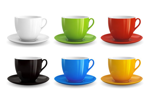 6 Cups and Saucers Illustration