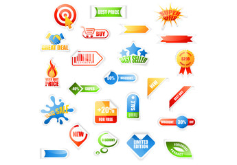 24 Bright and Glossy Sale Icons
