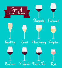 Types of glasses infographic. Set