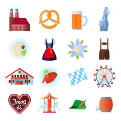 Set of Oktoberfest vector icons: