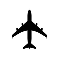 Airplane icon. Black icon isolated on white background. Airplane silhouette. Simple icon. Web site page and mobile app design vector element.