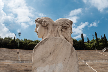 Herm scultpure  on Panathenaic stadium, Kallimarmaro in Athens, Greece