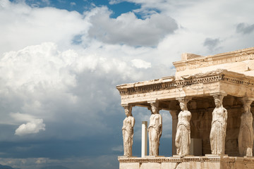 Caryatids at Porch of the Erechtheion,  in Acropolis, Athens, Greece
